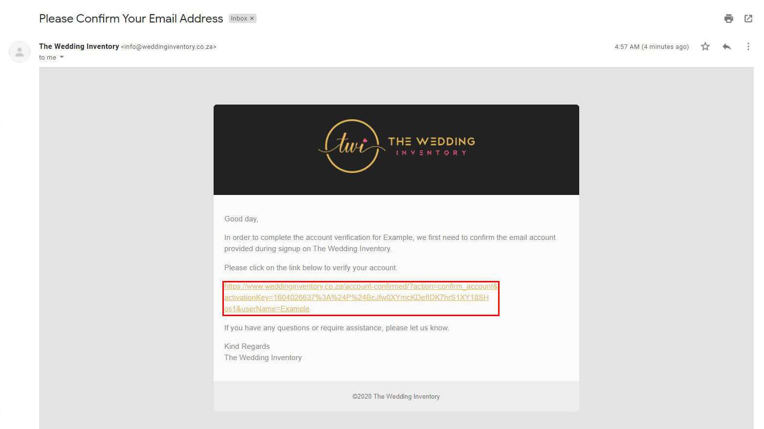 The Wedding Inventory Confirming Email